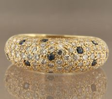 Yellow gold ring of 14 kt set with brilliant cut sapphire and diamond, ring size 17.25 (54) ****NO RESERVE PRICE****