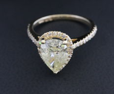NGL – Diamond Pear Ring 2.70CT – Very Light Yellow – 14KT Yellow Gold – Size 6.5
