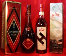 2 rare bottles Cognac: 1.  H by HINE VSOP incl. limited original box + 2. Roi des Rois V.S.O.P. Cognac, 2x700ml/70cl, 2x40%vol.
