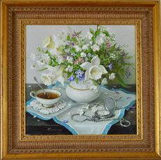 Lidia Datsenko. (Ukraine b. 1948) A still life of tea, pocket watch and summer flowers.