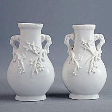 "Pair of ""Blanc de Chine"" porcelain vases - China - early 20th century"