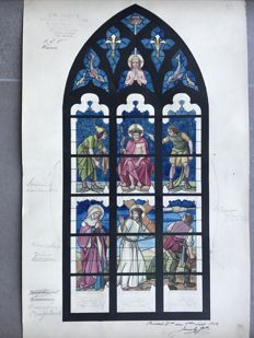 9 unique paintings of stained glass projects Waver - Our Lady of Wavre - ink of China and watercolor - 1942