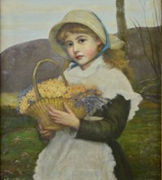 S Morris (19/20th century) - A young girl holding a basket of flowers.