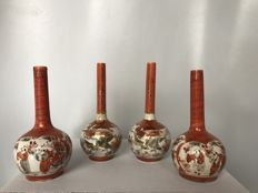 Four Kutani porcelain stem vases - Japan - around 1920