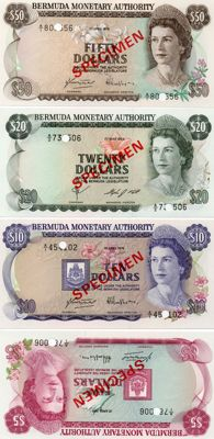 Bermuda - specimen - 5, 10, 20 and  50 dollars, 1978 to 1984 - Part of Pick CS1