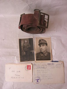 Original german officer belt, letters and  images  from WW2