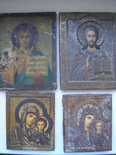 Four 20th century ortodox russian icons Kazan Virgin and Jesus Christ.