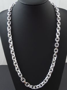 Silver, 925 kt Heavy Rolo Link necklace, 68 cm