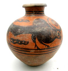 Indus Valley Painted Terracotta jar with Bull Motif - 125mm x 135mm