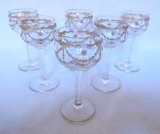 6 St Louis crystal liquor glasses enhanced with fine gold, France, early 20th century