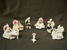 Dresden, Wilhelm Rittirsch - Seven piece orchestra set, porcelain sculptures with side decorations