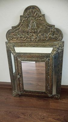 Copper foil brush cabinet with mirrors