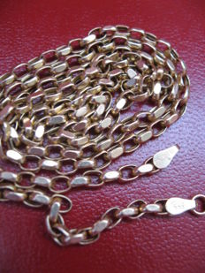 14 kt gold unisex hand-crafted necklace - 63 cm