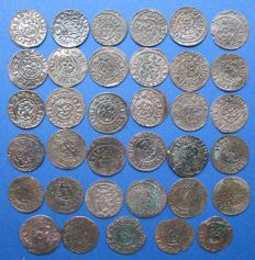 Livonia - Lot Solidus 1635/1654 Christina Queen of Sweden and Gustav II Adolf 1621/1634 (35 different)