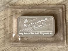 50 grams Silver bar Degussa in seal - 1992 Olympics