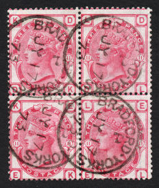 Great Britain 1873/80 Queen Victoria - 3d rose, Block of four, Plate 11, Stanley Gibbons 144