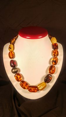 Genuine Baltic Amber beads necklace, length 51 cm, 69 grams