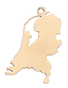 14 kt Yellow gold pendant in the shape of a map of the Netherlands - 1.28 grams - 20 x 11 mm