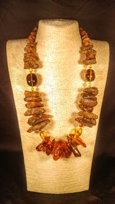 Genuine 100% Natural Baltic Amber necklace, length 68 cm, 160 grams