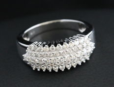 14KT White Gold Diamond Ring - 0.75 CT - H/SI - Size 6.5