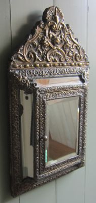 Copper foil brush cabinet with mirrors-early 20th century