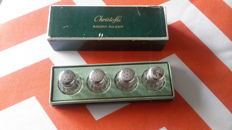 Box of 4 Christofle salt shakers with sterling silver lids
