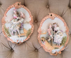 "pair off antique bisque porcelain wall plaques ""venice lovers ""19th century"