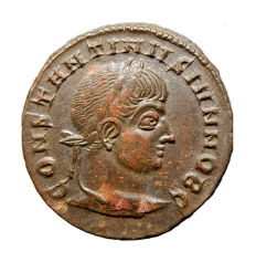 Roman Empire - Constantine II ( 317-337 A.D. ) bronze follis (3,41 g, 17 mm), Siscia mint, A.D. 321-324. CAESARVM NOSTRORVM around VOT / X in laurel-wreath.