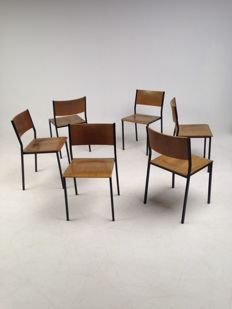 Industrial design, set of 6 stackable, old school chairs (3 + 2 + 1).