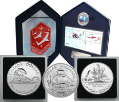 Canada - 1 Dollar 1979, 1986 & 1987 'Ships & Train' (3 coins) and 5 Dollars 2006 Hologram 'Canadian Forces' Stamp Set - silver