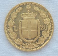 Kingdom of Italy – 20 Lire 1882 – Umberto I – Gold