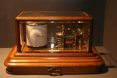High quality oak barograph by J. Hicks of London-ca. 1880