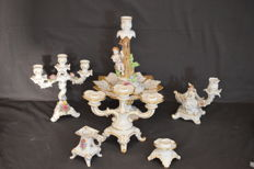 6 antique candle holders of different manufacturers