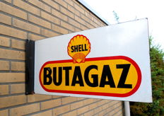 Double-sided enamel sign -Shell Butagaz-rare-1952