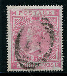Great Britain, 1867-1883, Queen Victoria, 5 shilling rose, Stanley Gibbons 126, plate 2