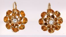 Red gold earrings with later set diamond imitations - 1880 - No Reserve Price