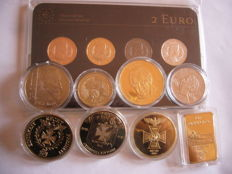 "Europe - Latvia (2 Euro 2013 plated ""Precious Metal Set"") + 8 plated medals Germany"