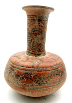 Indus Valley Painted Terracotta Jug depicting Antelope & Snakes-  150x120mm