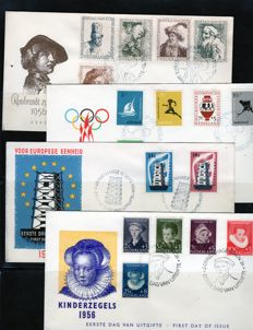 Netherlands 1956/1958 - Small collection 10 FDCs - NVPH E25/E34