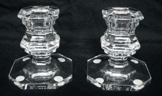 Pair of candlesticks in Baccarat crystal, model Harcourt - both signed, France, 20th century