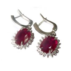 Pair of 6.66 ct Ruby and Diamond Earrings - 14K White Gold -