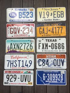 U.S. license plates number plates registration plates - 10 pcs.
