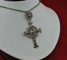 Circa 1750's Antique Cross Pendant with Rose cut Diamonds and Black Stones set on Silver