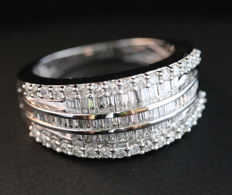 Diamond 5th Layer Ring - with a total of 0.933 ct - Size 6.5  Size EU 17/ 17 mm