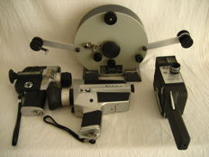 Bolex N8/S8 Weberling super 8 magnetic tape splicer and 3x 8mm camera: Mansfield Fujica Silma