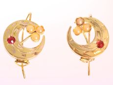Victorian moon sickle and flower gold earrings - anno 1880. No reserve price!