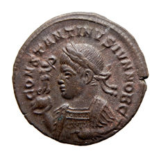 Roman Empire - Rare Constantine II (A.D. 317-337)  bronze follis ( 3,29 g, 20 mm) minted in Trier mint. BEATA TRANQVILLITAS. PTR