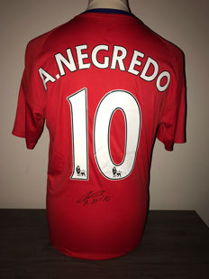 Alvaro Negredo Middlesbrough home shirt 2016-2017 + photo of the signing time + certificate of authenticity