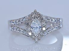 Marquise Diamonds ring -  – Size: 15- No reserve price!