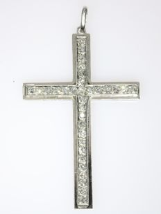 White gold diamond cross pendant from the fifties